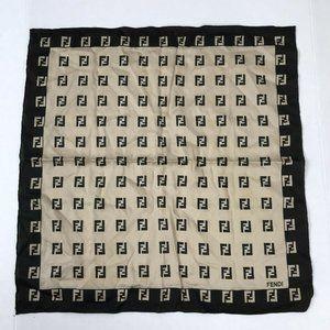 Fendi FF Logo Large Square Black Gold Tan Scarf Vt